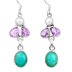 10.04cts natural green peruvian amazonite amethyst 925 silver earrings d40522