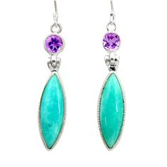 14.73cts natural green peruvian amazonite amethyst 925 silver earrings d45822