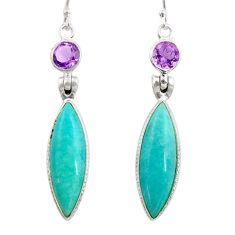 14.81cts natural green peruvian amazonite amethyst 925 silver earrings d45823