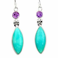 11.96cts natural green peruvian amazonite amethyst 925 silver earrings d45825
