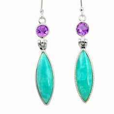 14.81cts natural green peruvian amazonite amethyst 925 silver earrings d45826