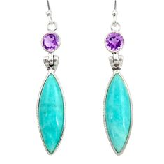 14.73cts natural green peruvian amazonite amethyst 925 silver earrings d45828