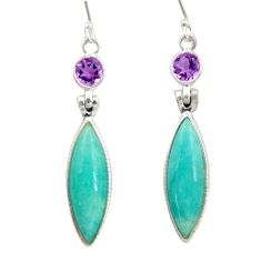 15.37cts natural green peruvian amazonite amethyst 925 silver earrings d45829
