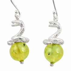 16.46cts natural green prehnite 925 sterling silver snake earrings d45811