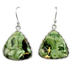 18.76cts natural green rainforest rhyolite jasper 925 silver earrings r28902
