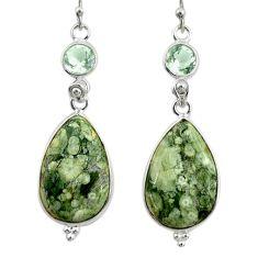 18.15cts natural green rainforest rhyolite jasper 925 silver earrings r28910