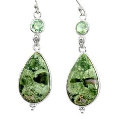 19.98cts natural green rainforest rhyolite jasper 925 silver earrings r28911