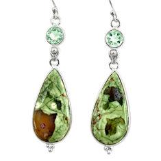 21.05cts natural green rainforest rhyolite jasper 925 silver earrings r28916