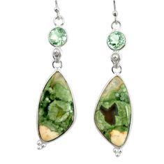 18.24cts natural green rainforest rhyolite jasper 925 silver earrings r28917