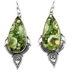 19.99cts natural green rainforest rhyolite jasper 925 silver earrings r30201