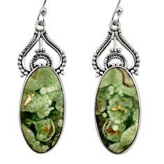 17.29cts natural green rainforest rhyolite jasper 925 silver earrings r30202