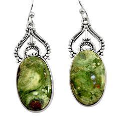 19.42cts natural green rainforest rhyolite jasper 925 silver earrings r30203