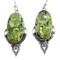21.53cts natural green rainforest rhyolite jasper 925 silver earrings r30205
