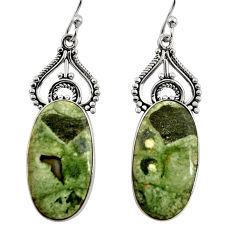 19.89cts natural green rainforest rhyolite jasper 925 silver earrings r30211