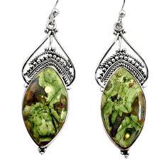 22.02cts natural green rainforest rhyolite jasper 925 silver earrings r30213