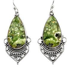 20.46cts natural green rainforest rhyolite jasper 925 silver earrings r30215
