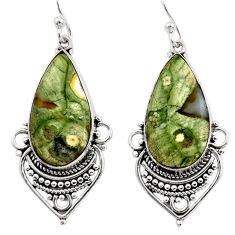 18.88cts natural green rainforest rhyolite jasper 925 silver earrings r30216