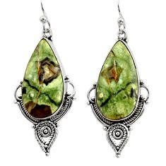 19.23cts natural green rainforest rhyolite jasper 925 silver earrings r30220