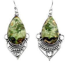 18.68cts natural green rainforest rhyolite jasper 925 silver earrings r30280