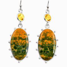 21.69cts natural green rainforest rhyolite jasper 925 silver earrings r30421