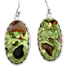 20.39cts natural green rainforest rhyolite jasper 925 silver earrings r30426
