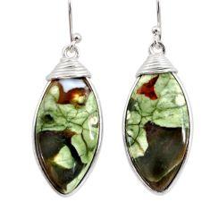 19.40cts natural green rainforest rhyolite jasper 925 silver earrings r30429