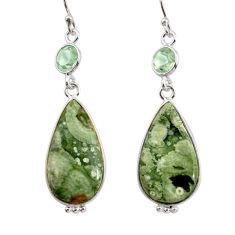 14.62cts natural green rainforest rhyolite jasper 925 silver earrings r30431