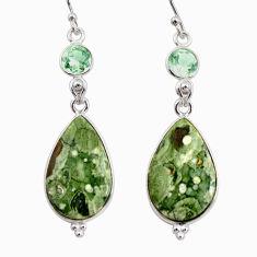 18.18cts natural green rainforest rhyolite jasper 925 silver earrings r30432