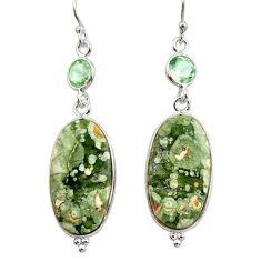 19.29cts natural green rainforest rhyolite jasper 925 silver earrings r30433