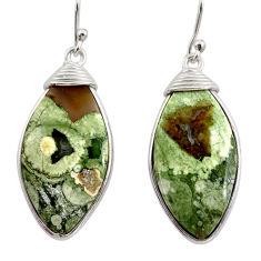 18.15cts natural green rainforest rhyolite jasper 925 silver earrings r30434