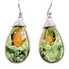 18.76cts natural green rainforest rhyolite jasper 925 silver earrings r30435