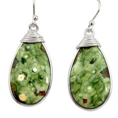 18.01cts natural green rainforest rhyolite jasper 925 silver earrings r30438