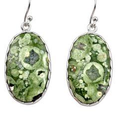 19.98cts natural green rainforest rhyolite jasper 925 silver earrings r30440