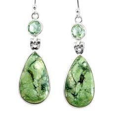 17.96cts natural green rainforest rhyolite jasper 925 silver earrings r75501