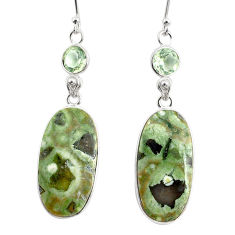 20.95cts natural green rainforest rhyolite jasper 925 silver earrings r75505