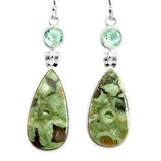 19.09cts natural green rainforest rhyolite jasper 925 silver earrings r75507