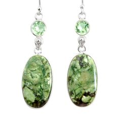 17.35cts natural green rainforest rhyolite jasper 925 silver earrings r75508
