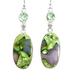 20.40cts natural green rainforest rhyolite jasper 925 silver earrings r75514