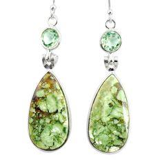 18.39cts natural green rainforest rhyolite jasper 925 silver earrings r75519