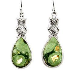 21.02cts natural green rainforest rhyolite jasper 925 silver owl earrings r45336