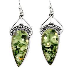 21.48cts natural green rainforest rhyolite jasper silver dangle earrings r30206