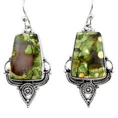 19.99cts natural green rainforest rhyolite jasper silver dangle earrings r30207