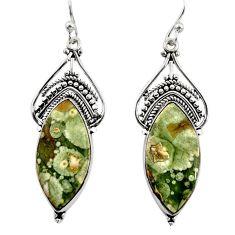 17.91cts natural green rainforest rhyolite jasper silver dangle earrings r30208