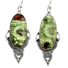 18.82cts natural green rainforest rhyolite jasper silver dangle earrings r30209