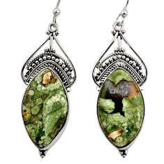 19.42cts natural green rainforest rhyolite jasper silver dangle earrings r30212