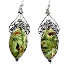 18.28cts natural green rainforest rhyolite jasper silver dangle earrings r30217