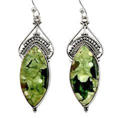 20.51cts natural green rainforest rhyolite jasper silver dangle earrings r30218