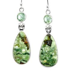 17.32cts natural green rainforest rhyolite jasper silver dangle earrings r75652
