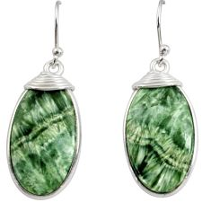 15.74cts natural green seraphinite (russian) 925 silver dangle earrings r29222