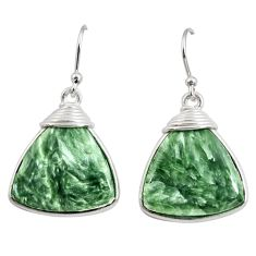 16.27cts natural green seraphinite (russian) 925 silver dangle earrings r29223